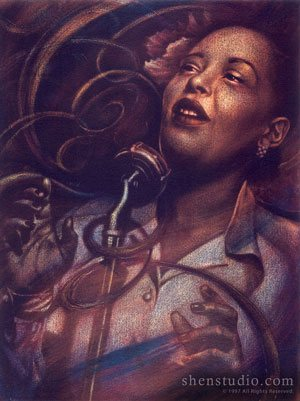 A portrait painting by Shen, titled Billie Holiday.
