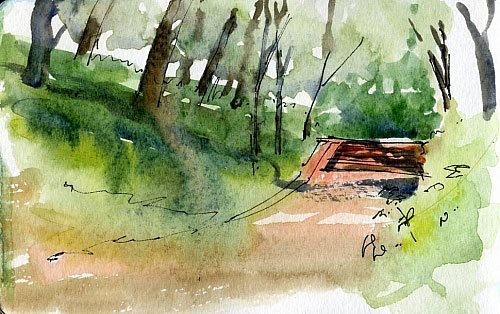 Quick watercolor painting sketch; pocket sketching tools and tips from Vladimir Tuporshin, brought to you by Artists Network
