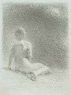 Model Looking at the Light by Fred Dalkey, 2011, silver point drawing with sgrafitto, 9 5/16 x 7.