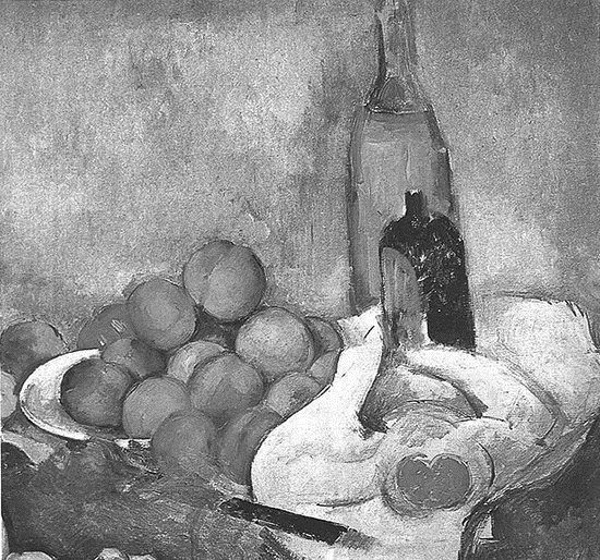 Cezanne's Still Life with Bottles and Apples in black and white and full-color.