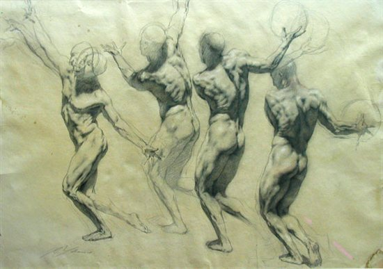 Figure Throwing Ball by Rob Liberace, chalk drawing on paper, 24 x 36.