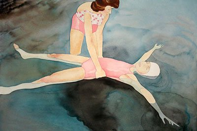 Mom Learning to Float by Allison Maletz, watercolor painting. Maletz is one of those artists who keeps a complete and ever-evolving record of all her works.