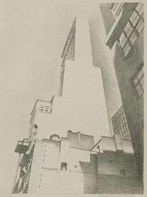 Delmonico Building by Charles Sheeler, 1926, lithograph drawing.
