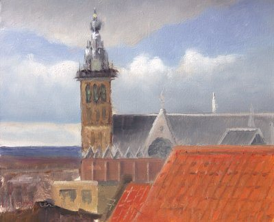 Passing clouds from my window by Jos van Riswick. The artist has made a commitment to doing a postcard-size oil painting a day.