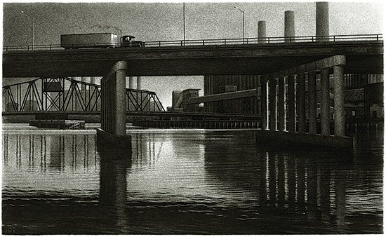 Overpass, 1999, charcoal drawing, 13 x 21, by Ira Korman