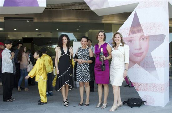 Walking In: Katie O'Hagan, Noha Valenti, me, and Nanette Fluhr dressed in our best for the opening. You know I've got a bottle of champagne!