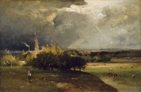 The Coming Storm by George Inness, 1879, oil on canvas, 27 1/4 x 41 3/4.