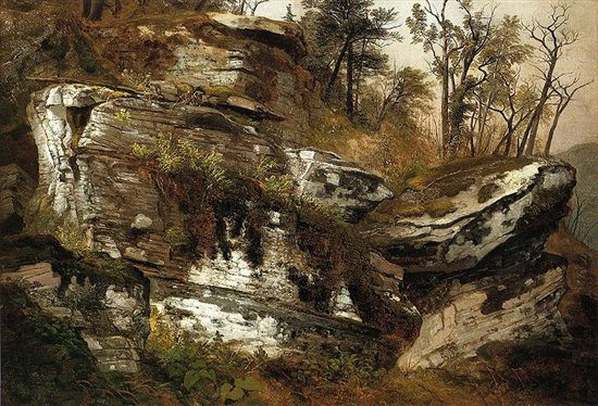 Rocky Cliff by Asher B. Durand, oil on canvas, 1860.
