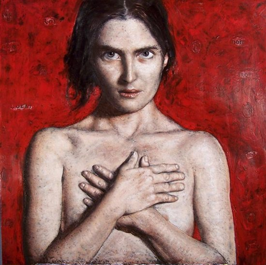 Lucrezia by Francisco Benitez, 30 x 30, encaustic on panel.