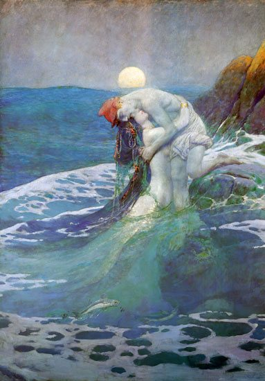 The Mermaid by Howard Pyle, oil on canvas, 1910.