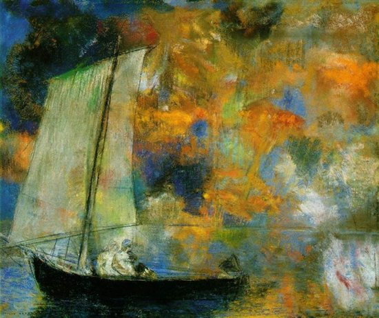 Flower Clouds by Odilon Redon, 1903, pastel painting.