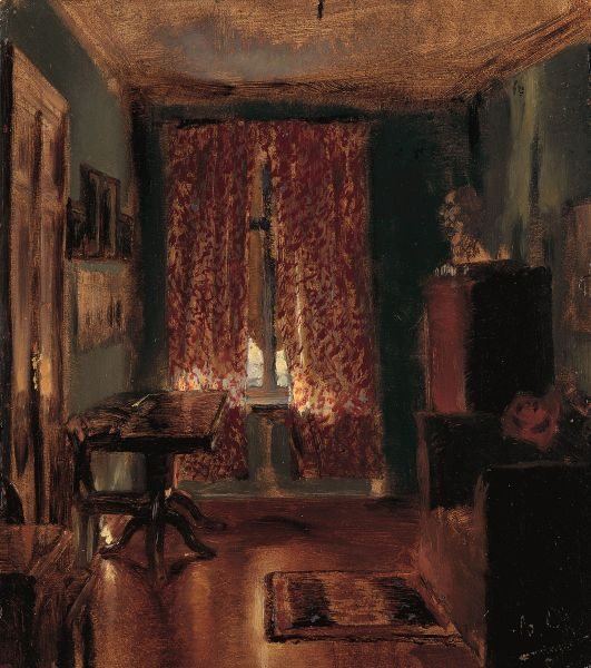 The Artist's Sitting Room in Ritterstrasse by Adolph Menzel, oil painting, 1851.