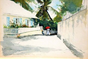 Study for Allamanda Lane by Stephen Scott Young, watercolor painting sketch.