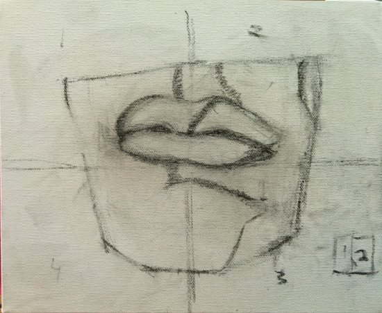 The block-in stage. The cast is simply divided into linear shapes, using vine charcoal directly onto canvas. Shadows and light shapes carry equal weight.