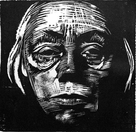 Self-Portrait by Kathe Kollwitz, woodcut, 1923. Kollwitz was always so brave with her line, unhesitating and bold. I quite admire that!