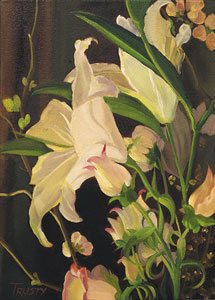 Lilies in Candlelight by Ann Trusty, oil painting.