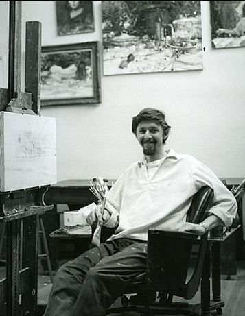A young Richard Schmid in his studio.