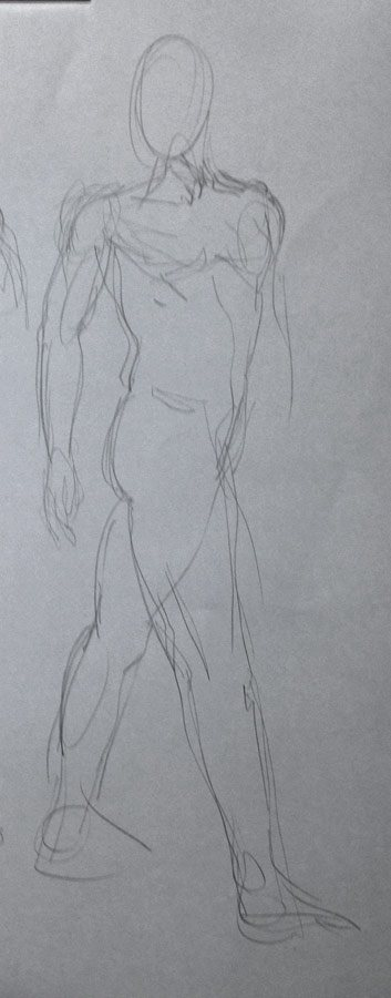 A student drawing of the legs that are incorrectly straight.