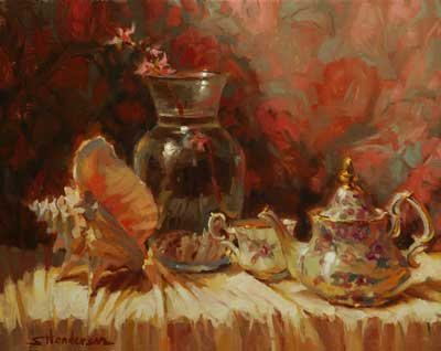 "Life is not always a cup of tea, but a break to enjoy that ""cup of tea"" enables us to endure, and conquer, our frustration. Tea by the Sea, an original oil painting, signed limited edition print, and note card by Steve Henderson."