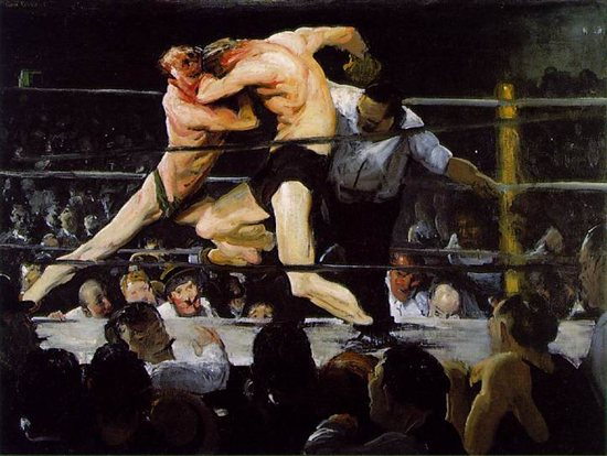 Stag at Sharkey's by George Bellows, 1909, oil on canvas, 92cm x 122.6cm.