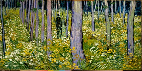 Undergrowth with Two Figures by Vincent van Gogh, 1890, oil painting, 19½  x 39¼.