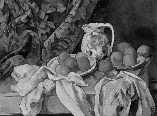 Black and white version of Still Life with Curtain by Cezanne.