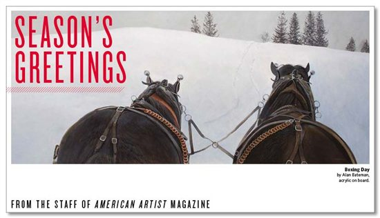 2011 American Artist holiday e-card featuring the acrylic painting, Boxing Day, by Alan Bateman.