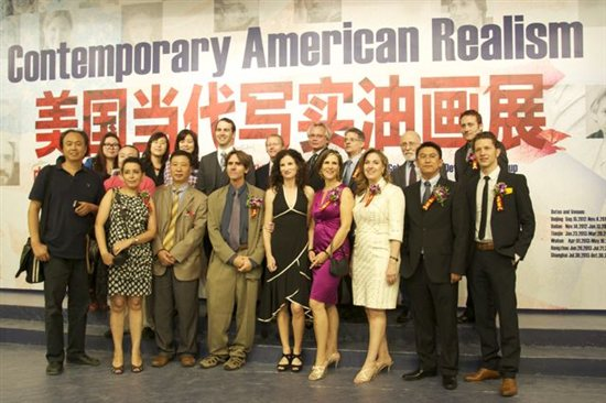 Crowd Control!: Here's the group posing for the press. We are shown with some of the Chinese artists from the Chinese Academy of Oil Painting (more about that later).  The American artists attending the opening are Greg Mortenson, Daniel Sprick, Ron Sherr, Katie O'Hagan, Paul McCormack, Patricia Watwood, Tom Valenti, Nanette Fluhr, Max Ginsberg, Michael Klein, and Joshua LaRock.