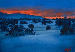 Plein Air Painting - Fire and Ice by John Hulsey, watercolor