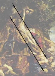 The Raising of the Cross by Rubens, oil on canvas, 1610. Diagonal schematic.