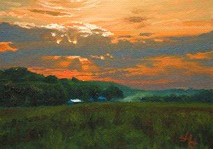 John Hulsey's plein air painting, Dawn Harvest