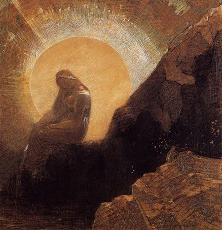 Melancholy by Odilon Redon, pastel drawing with charcoal and gouache, 1876.