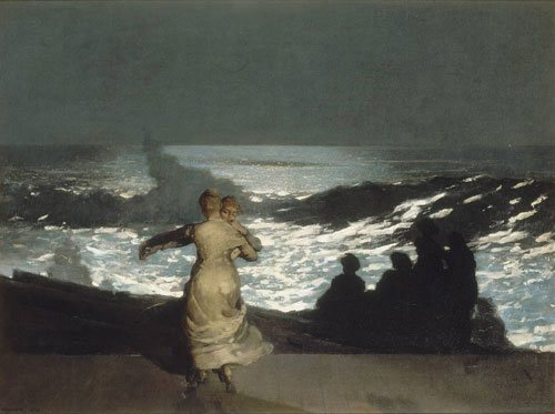 A Summer Night by Winslow Homer, 1890, oil on canvas, 30 3/16 x 40 3/16.