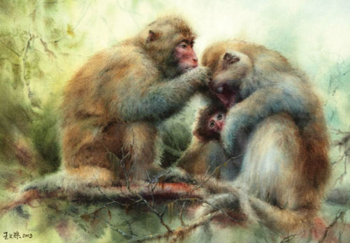 6 Watercolor Paintings That Will Melt Your Heart, at ArtistsNetwork.com | Caring by Wen-Cong Wang