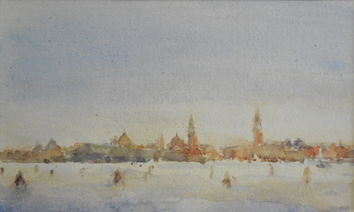 Central Venice From the Lido (watercolor on paper) by Andrew Horrod