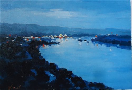 Night on the Danube by Vasile Ion, oil painting.