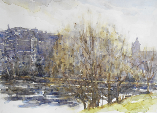 Winter Light, Hampstead Pond (watercolor on paper) by Andrew Horrod