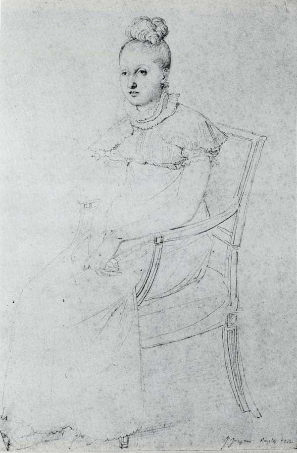 Princess Letizia Murat by Jean-Auguste-Dominique Ingres, 1813, graphite pencil drawing