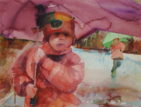 6 Watercolor Paintings That Will Melt Your Heart, at ArtistsNetwork.com | Rainy Day by Michael W. Bermel