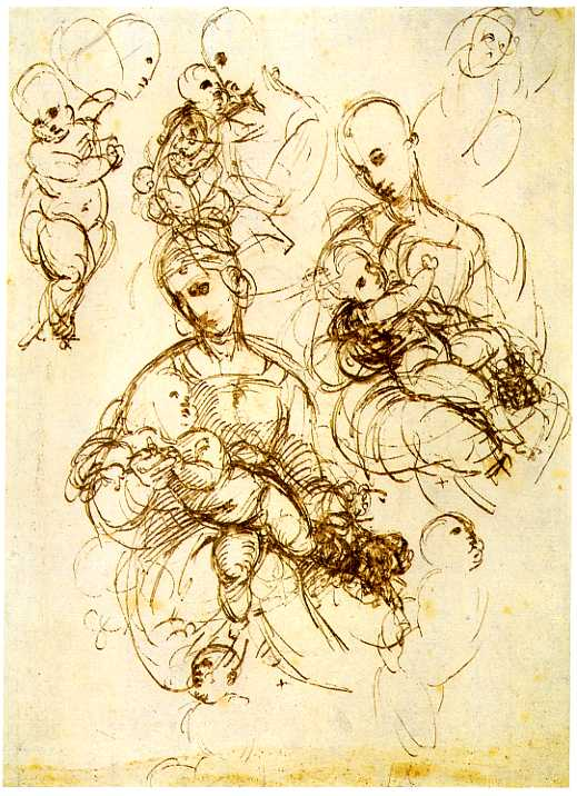 Virgin and Child Studies, by Raphael, pen drawing