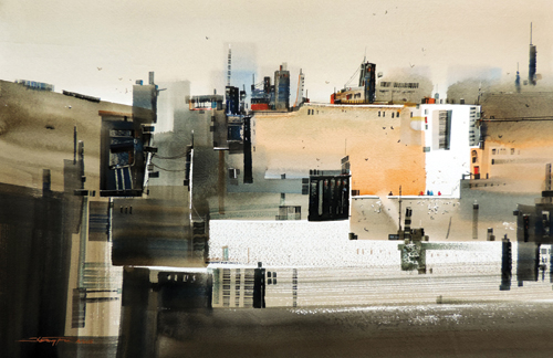 Relationship of the City #4 (watercolor on paper) by Tan Suz Chiang