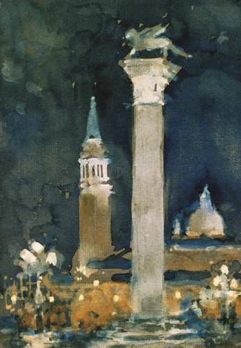 The Piazzetta, Venice at Night (watercolor on paper) by Andrew Horrod