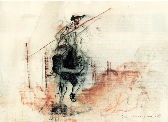 Pietro Annigoni drawing of a jouster
