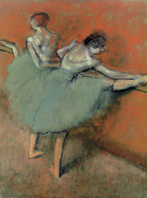 Dancers at the Barre by Edgar Degas, ca. 1900, oil on canvas