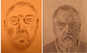 Self-portrait drawings, day one and day five, by Douglas Coleman