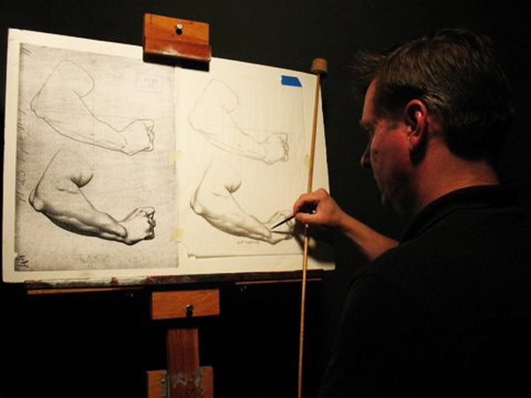 A student copies a Bargue lithograph at the Kewaunee Academy of Fine Art, in Wisconsin. Copying Bargue's plates in one's own drawings is helpful in part because it shows how the master artist simplified objects such as the human arm, rendering them first in simple outline.