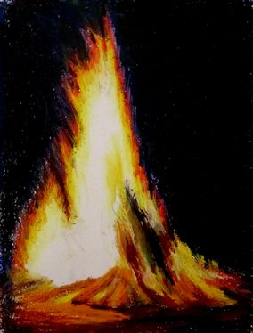 How to Draw Flames 101.Fire by MaryML, oil pastel painting. The wedge or triangular shape of this campfire is very common, with the thick base that tapers up thinly, with jagged edges of flame.