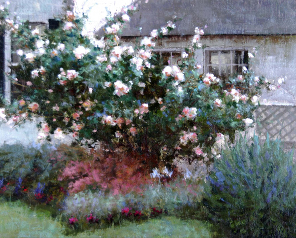 Overcast Roses by Timothy Thies, 2005, oil painting, 10 x 12.