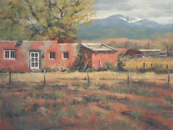 House at Arroyo Jacona by Doug Higgins, 2006, oil painting, 18 x 24.