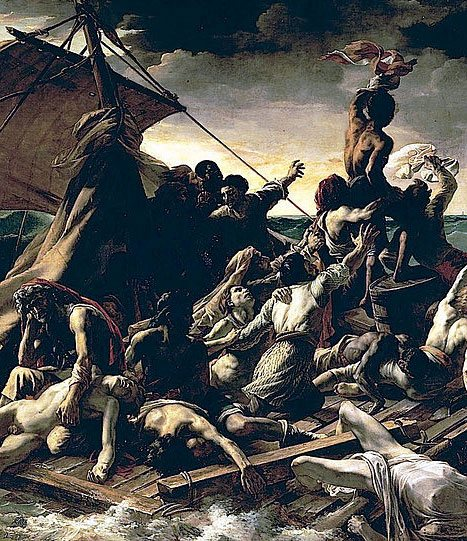 The Raft of the Medusa by Theodore Gericault, oil on canvas, 1819: An emblem of French Romanticism, this incredibly large fine art oil painting is based on the horrific aftermath of an 1816 shipwreck and also serves as an example of how complex a composition can be--two overlapping pyramids direct the viewer's eye in, around, and through the work. (Above, a detail of the work.)